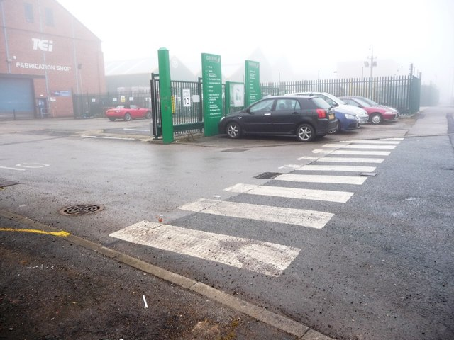 Zebra crossing at entrance to Greens Industrial Park, Calder Vale Road