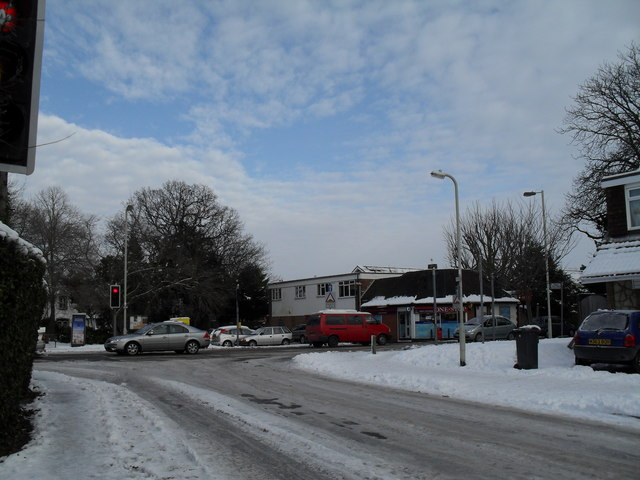 A snowy scene approaching the junction of Pook Lane and Emsworth Road