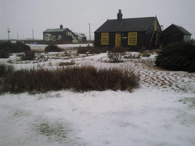 Prospect Cottage and garden in the snow