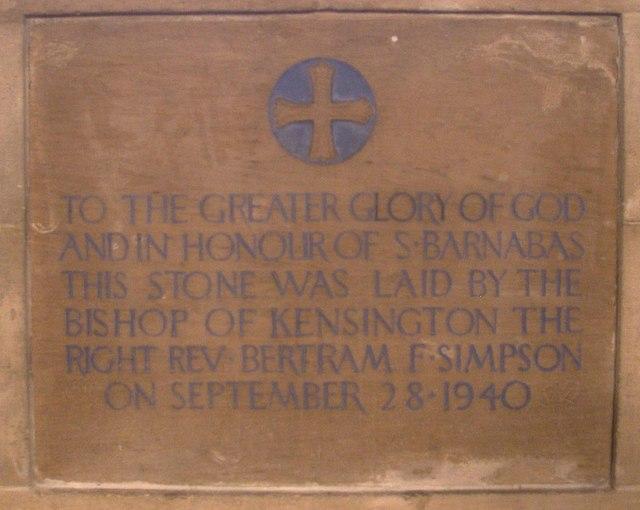 St Barnabas, The Fairway - Memorial