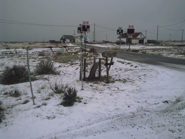 Icy scene on the road to Dungeness