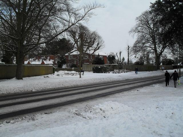 Chilly pedestrians in Emsworth Road