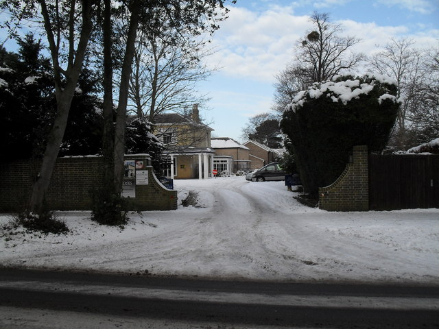 A snowy entrance at the Conservative Club in Emsworth Road