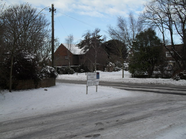Looking out from a snowy Wade Court Road into Emsworth Road