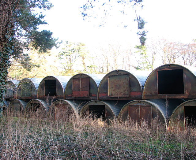Pig huts stored at field's edge