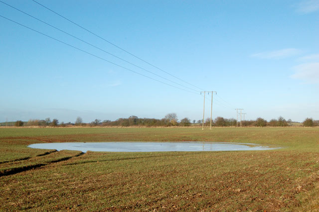 Power poles and floodwater on farmland, Marton Moor