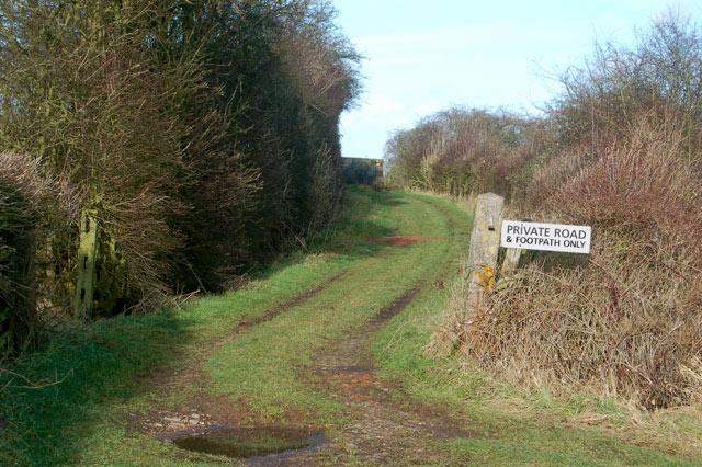 Looking north up the slope to disused railway bridge, Marton Moor