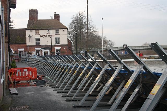 Flood barriers near the Kings Head