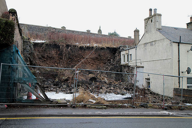 A wall collapse in Galashiels