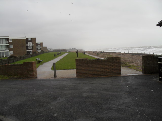 Looking from Sea Road towards empty seats looking at Rustington Beach