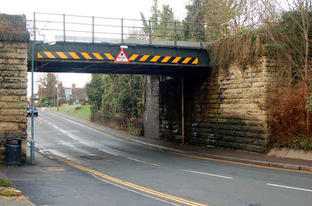 Looking west at the railway bridge over Rugby Road