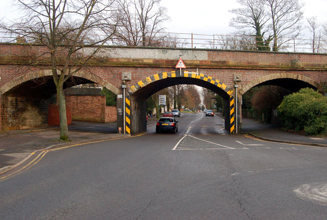 Looking east at the three-arch railway viaduct on Warwick New Road