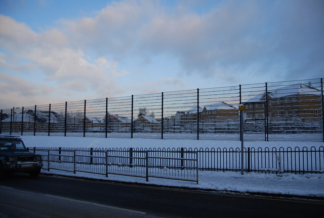 St Barnabas Playing Field covered in snow