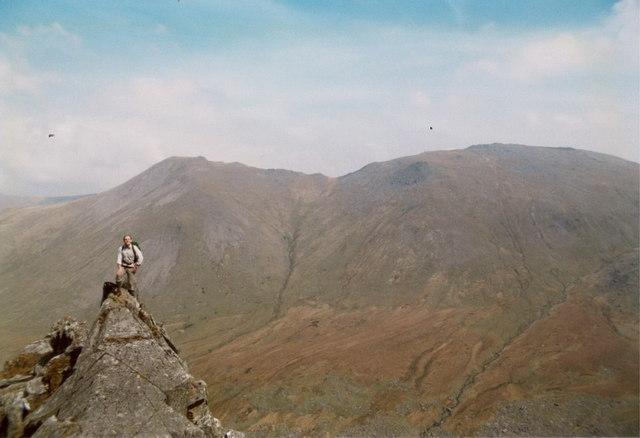 High on the Grib Lem ridge of Carnedd Dafydd