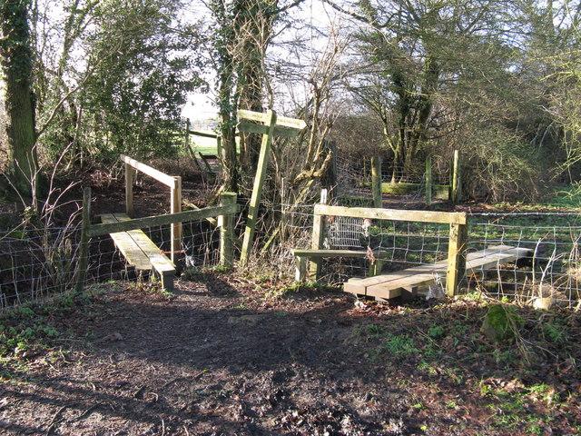 Stiles and footbridges at path junction