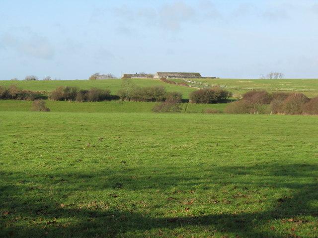 View west across fields