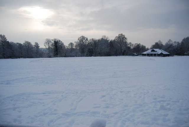 Higher Cricket Ground covered in snow, Tunbridge Wells Common