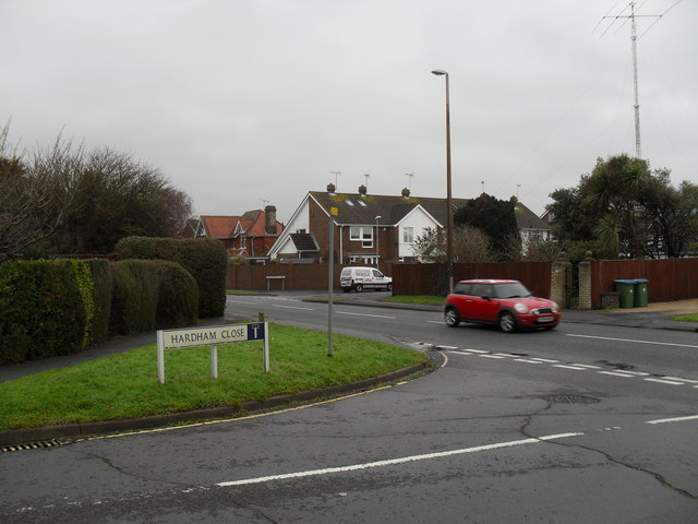 Looking from Hardham Close into Sea Lane