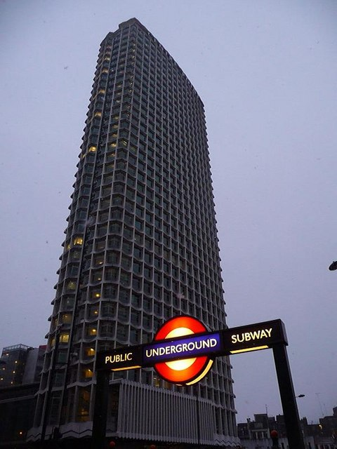 London: Centre Point and tube subway signage