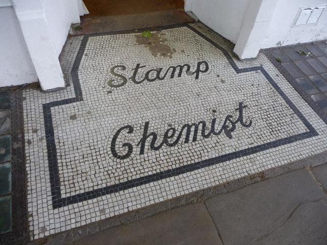 Original mosaic shop sign, Rosslyn Hill, London NW3