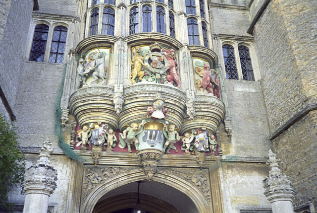 Detail over the main door of Hengrave Hall, Suffolk