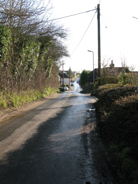 View along Bank Road towards Aldington village