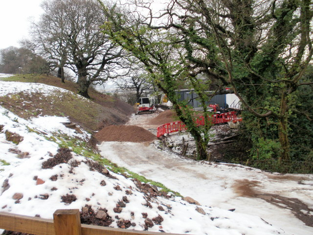 Pillmawr Road - work in progress on new cycleway to Caerleon