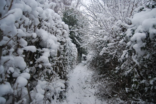 Snow, footpath north of Speldhurst Rd