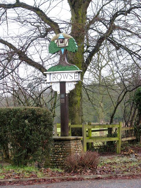 Trowse village sign