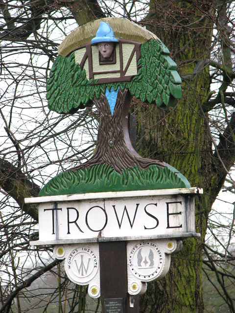 Trowse village sign (close-up)