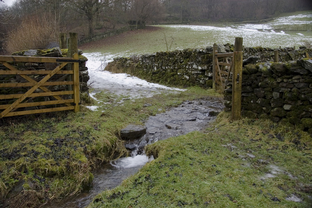 Ford on footpath to Hollins