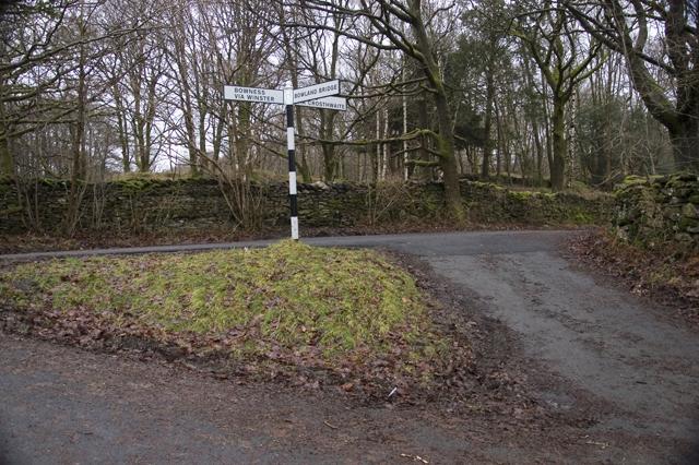 Lane junction near Barkbooth