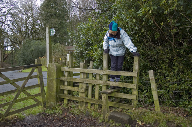 Tricky double stile on footpath Barnacre