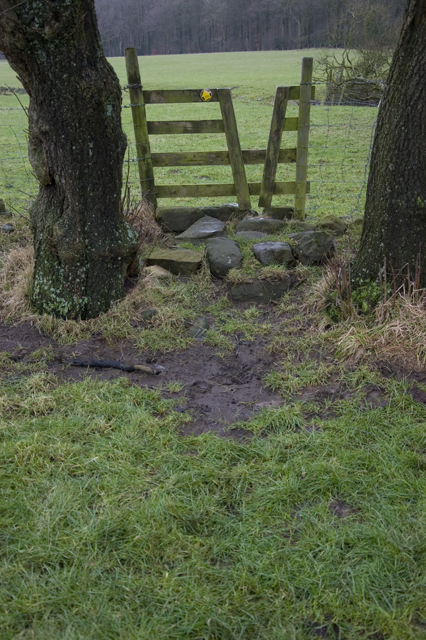 Stile on footpath near Helbeck Wood