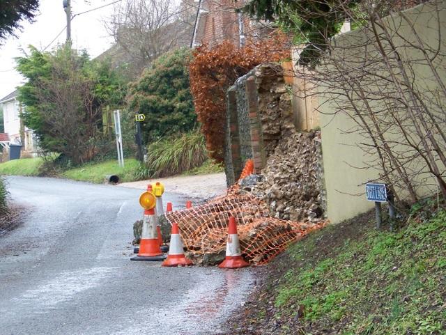 A wall disaster, Bishopstone