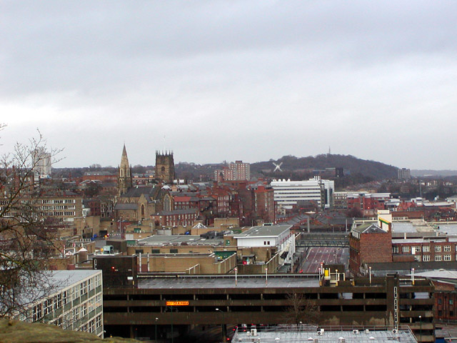 View across Nottingham to the north-east