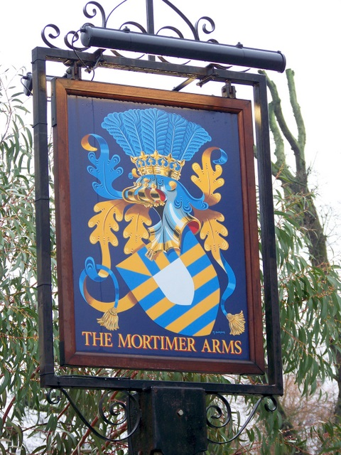 Sign for the Mortimer Arms