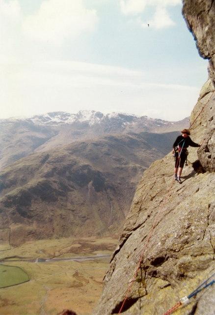 'The Gangway' on Bracket & Slab route, Gimmer Crag
