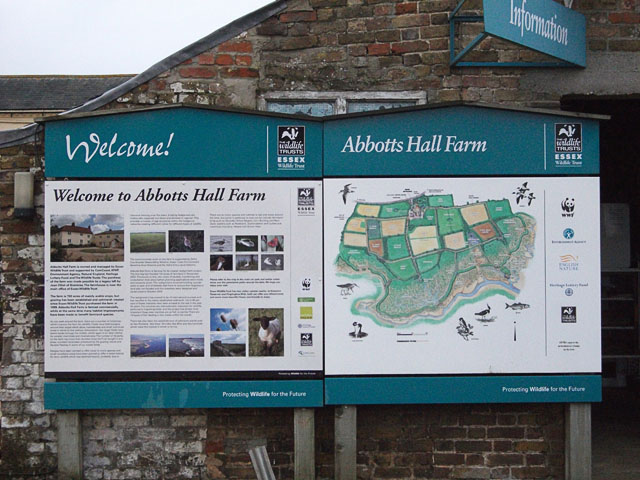 Abbotts Hall Farm information board
