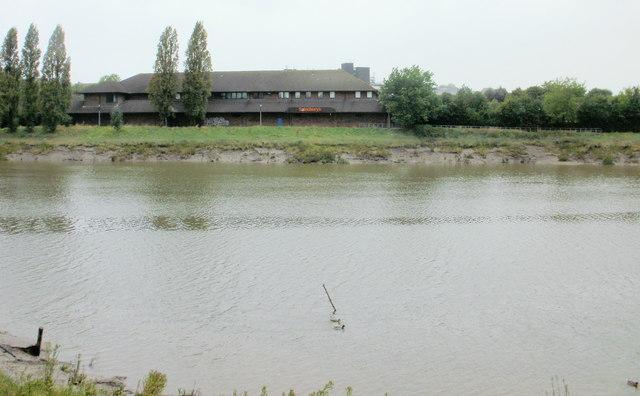 Sainsbury's Crindau viewed across the Usk, Newport