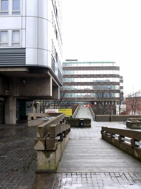 Network of upper level walkways below Bewick Court