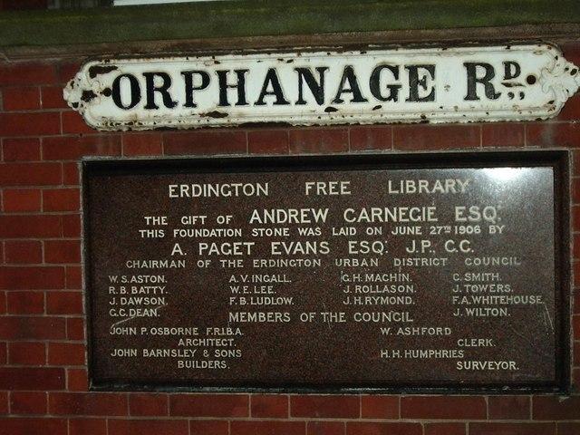 Memorial Stone, Erdington Library