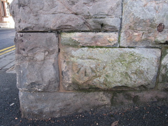 Bench mark on Ruthin Town Hall