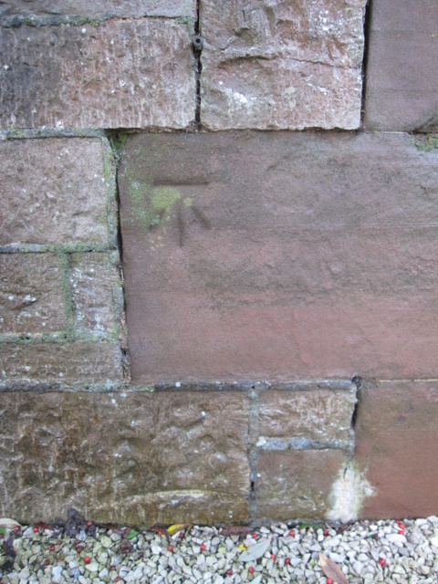 Bench mark on the lodge to Ruthin Castle