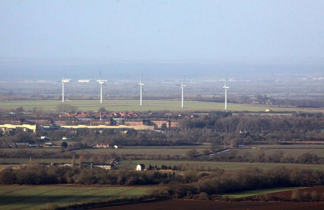 Watchfield Military Academy and wind farm from White Horse Hill
