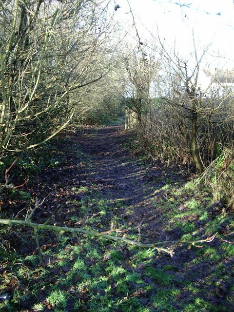 Footpath close to Penns Lane and golf course