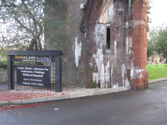 Part of the entrance gate to Ruthin Castle Hotel