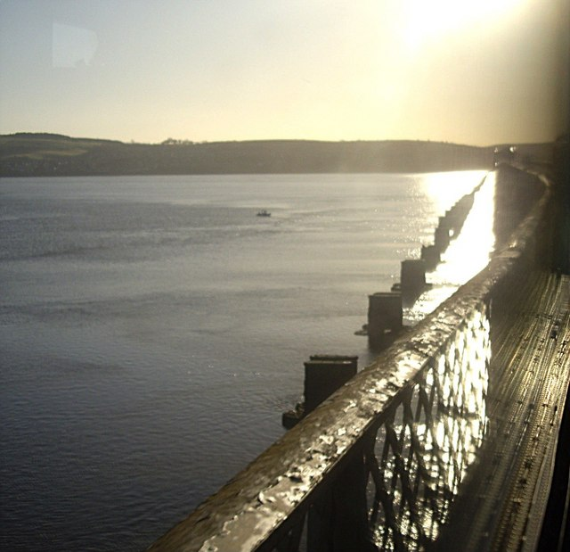 The line of the old Tay Rail Bridge supports