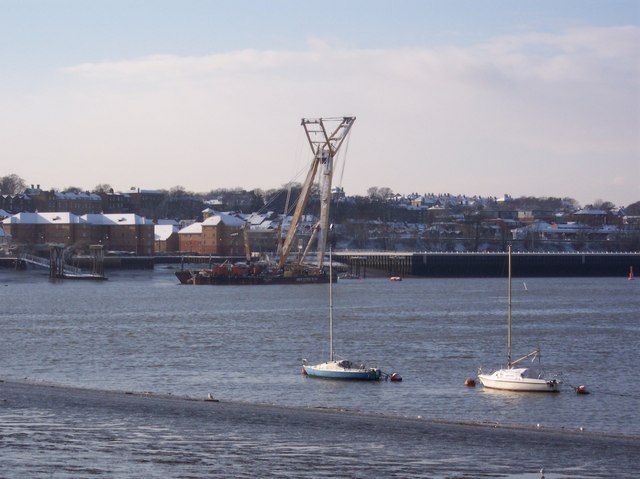 Crane ship in the River Medway