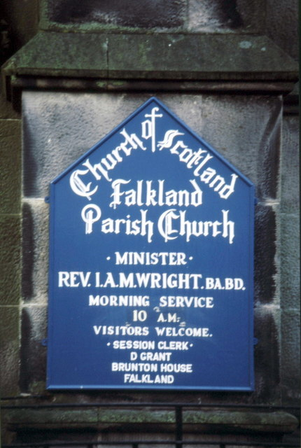 Sign on Falkland Parish Church